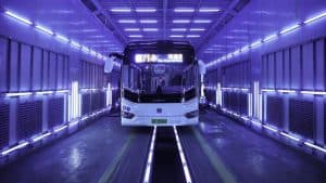 Bus In China Being Sterilized with UV-C light